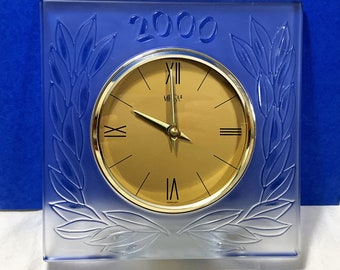 "Mikasa Germany Large Lead Crystal Year 2000 Celebration Clock, 8 X 8"", 5"" Gold Tone Dial, Slovenia 24% Lead Crystal, Great Condition."