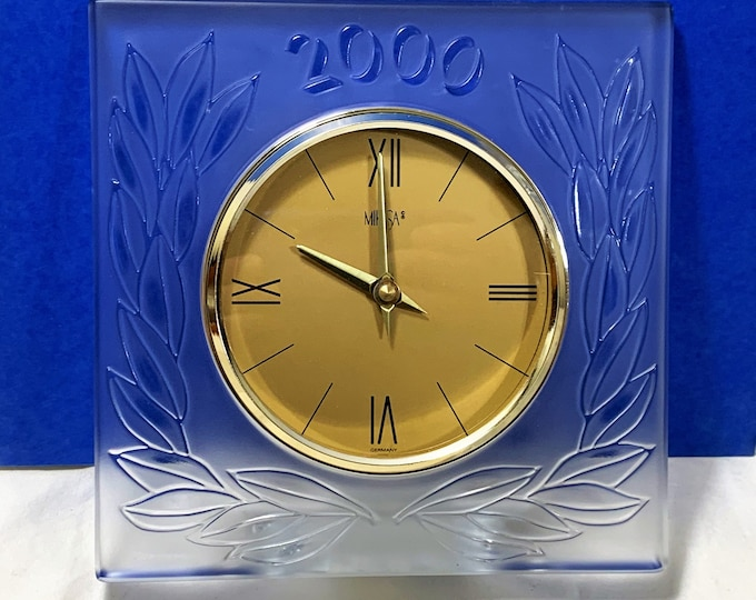 """Mikasa Germany Large Lead Crystal Year 2000 Celebration Clock, 8 X 8"""", 5"""" Gold Tone Dial, Slovenia 24% Lead Crystal, Great Condition."""