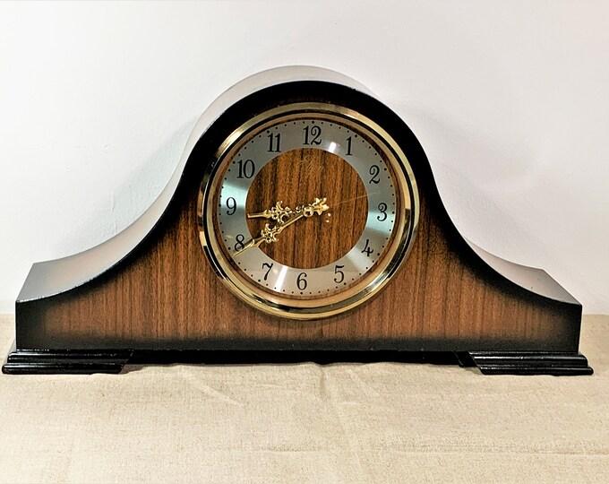 "Vintage Elgin Japan Quartz Chime Mantle Clock, Brown Walnut Veneers, 2C Par Chime, 17"" W. 9"" H. 4.5"" L. Works Perfectly. Free US Shipping."