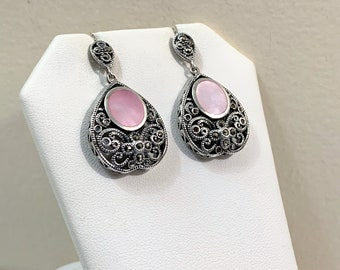 """Vintage Sterling Silver Marcasite and Pink Mother Of Pearl Dangle Earrings, Beautiful Scrolls On Front & Sides, 1 1/2"""" L, 3/4"""" W."""