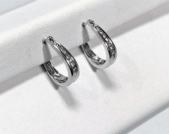 "14K White Gold Diamond Hoops - Huggies, 16 Round Brilliant Diamonds VVS-F, .45 Carat T.W, 3/4"" Drop, 3.70 Grams. Free US Shipping."