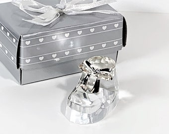 "Baby Shoe, Choice Crystal By Fashioncraft, 24% lead Crystal, Hand Cut, 2"" Long, 1.25"" Tall. Silver Tone Bow Tie, Good Luck Charm"