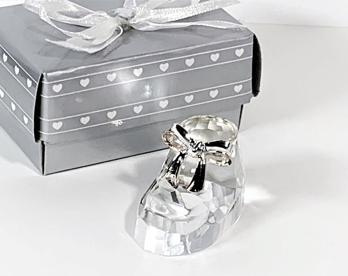 """Baby Shoe, Choice Crystal By Fashioncraft, 24% lead Crystal, Hand Cut, 2"""" Long, 1.25"""" Tall. Silver Tone Bow Tie, Good Luck Charm"""