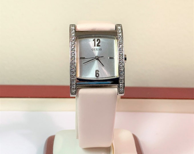 Guess Crystal Lady's Watch, Stainless Steel, Genuine Leather Band 18 mm Lugs, 32 X 24 mm, Japan Quartz, Mint Condition