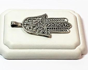 """Vintage Large Filigree Sterling Silver Hamsa-Khamsa, Defense Against the Evil Eye, 2 1/2"""" Long- 1 38"""" Wide, Made in Egypt"""