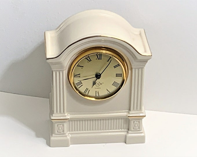 "Vintage Lenox ""Timely Traditions"" Arch Column Porcelain Clock, Made in USA. 24K Gold Accents, 6.5"" T. 5"" W.  Mint Condition, Free Shipping."
