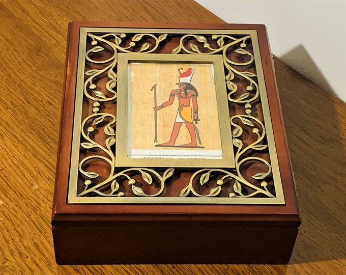"""Vintage Exotic Fancy Fine Wood Jewelry Trinket Memory Box, Metal Pattern on Hinged Lid, Papyrus Picture, Padded, 9"""" W. 7.5"""" L. 3"""" H. Nice"""