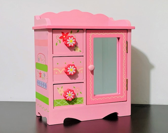 "Maggie Miller Collection Wood Jewelry Box Pink Dresser Mini Stars, Hand Crafted, Mirror Door, Swirly Hanger, Padded Drawers, 9.5"" H. 8"" W."