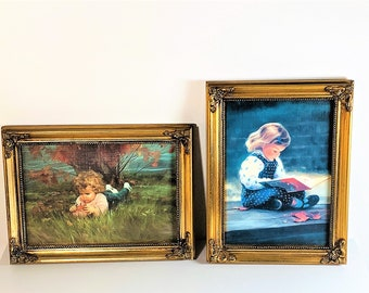 """Donald Zolan Registered & Numbered Two Framed Miniature Lithograph, """"Quiet Time"""" and """"September Girl"""", Gold Victorian Frames 8 X 6"""". 1992."""