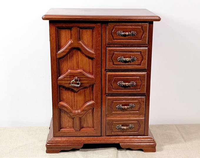 "Vintage Large Unique Carved Fine Wood Jewelry Armoire, Slide Down Ring Section, 3 Drawers, Mirror, Hangers, 13"" H. 10"" W. Free US Shipping."
