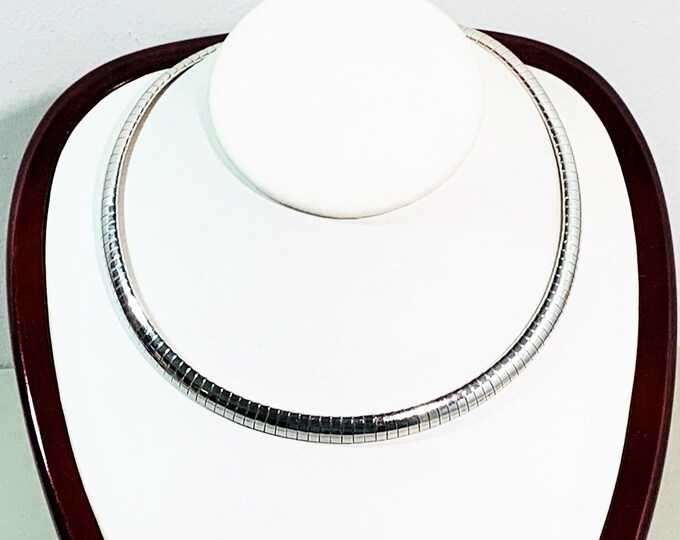 """Sterling Silver Wide Omega Necklace- Choker, Italy 33.06 Grams, 7.5 mm Wide, 16"""" Long, Large Lobster Claw Clasp,Nice. Free US Shipping."""