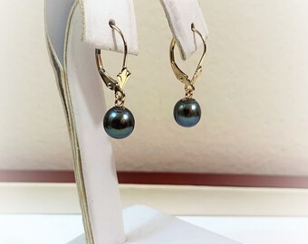 "14KYellow Gold Cultured Black Pearl Dangle Earrings, Lever Backs, 7mm Pearls, 1"" long."