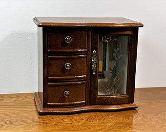 """Vintage Carved Rosewood Wood Jewelry Cabinet Box Armoire, Etched Glass Door, Mirror, 3 Padded Drawers, Hanger,  8"""" T, 9"""" W. Free US Shipping"""