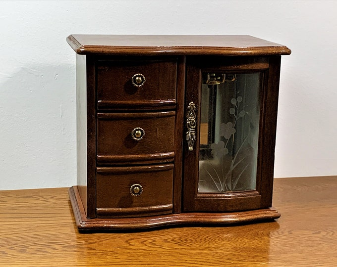 "Vintage Carved Rosewood Wood Jewelry Cabinet Box Armoire, Etched Glass Door, Mirror, 3 Padded Drawers, Hanger,  8"" T, 9"" W. Free US Shipping"