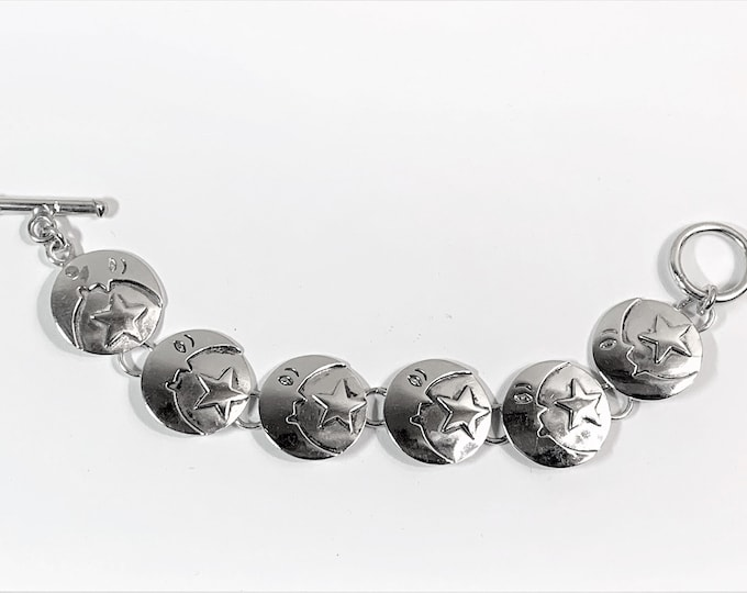 "Vintage Sterling Silver Moon and Star Bracelet, 3D Domed Disks, Toggle Clasp, 7"" long, 27.40 Grams. Unique."
