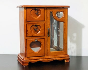 """Golden Pecan Wood Jewelry Box Chest Cabinet, Double Glass Door, Hangers, Rings Section, 3 Drawers & a Tray. 10.5"""" T. 9"""" W. Free US Shipping."""