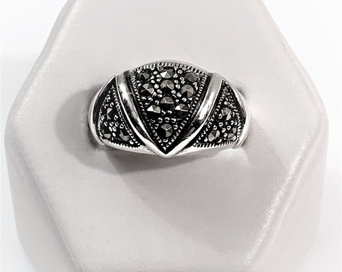 Vintage Sterling and Marcasite Domed Ring, Stylish Beautiful Design, 12mm Wide Top, Size 8