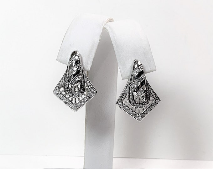 "Sterling Silver Glamorous Drop Earrings, Omega Backs, Round Brilliant Cubic Zirconia, Fine Craftsmanship, 1"" long, Rhodium"