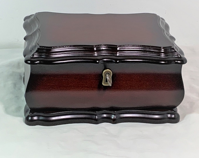 "The Bombay Company Vintage Treasure Jewelry Box, Key Lock, Removable Tray, Dark Mahogany Piano Finish, 8"" W. 5.5"" L. 4"" H. Free US Shipping."