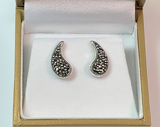 "Vintage Sterling Silver Marcasite Drop Earrings, 5/8"" Drop, Posts, Refinished."