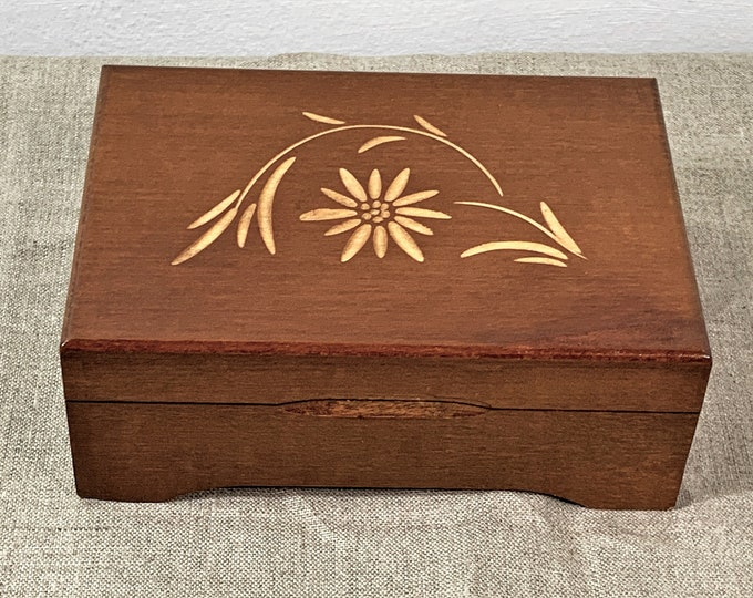 """Vintage 1960's Reuge Swiss Fine Wood Music Box """"Edelweiss"""". Carved Floral Top. Crafted in Switzerland., 6.5"""" W. 4.5"""" L. Free US Shipping."""