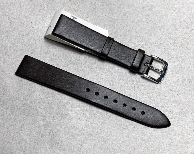 Vintage Hirsch Calf Genuine Leather Watch Band, 16mm Lugs, Soft Smooth Leather, Dark Brown or Black, New Old Stock, Austria