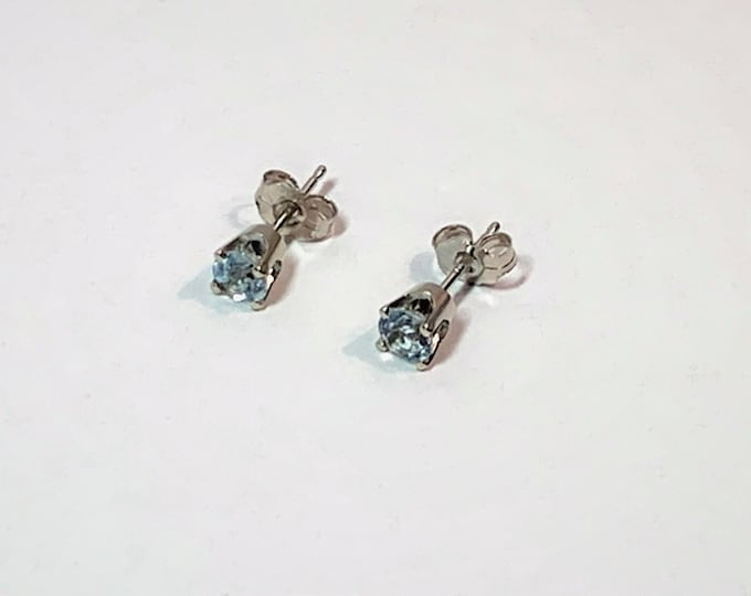 14k White Gold Aquamarine Studs, Round Brilliant Natural Gemstones 4.10 mm, .54 carat Grade AAA. Quality Cup Setting, Strong Backs.