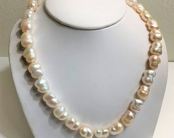 """Australian Baroque Twin Pearl Necklace, 14K White Gold Large Clasp, White, Ivory and Salmon Shades, 18"""" Long, 10 X 12-15mm Pearls. Exotic"""