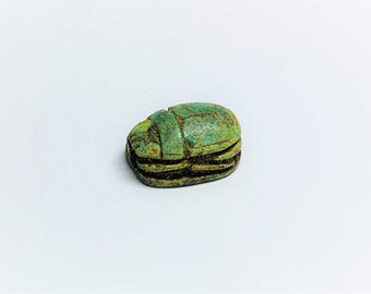 Vintage Ancient Egyptian Superb Faience Ritual Scarab Amulet. Abydos Shrine Area, Upper Egypt, 17 mm.