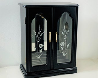 """Vintage Solid Wood Black Jewelry Armoire Cabinet, 2 Glass Doors, Hangers, Padded Rings & Earrings Sections, 12.5"""" T. 10"""" W. Free US Shipping"""