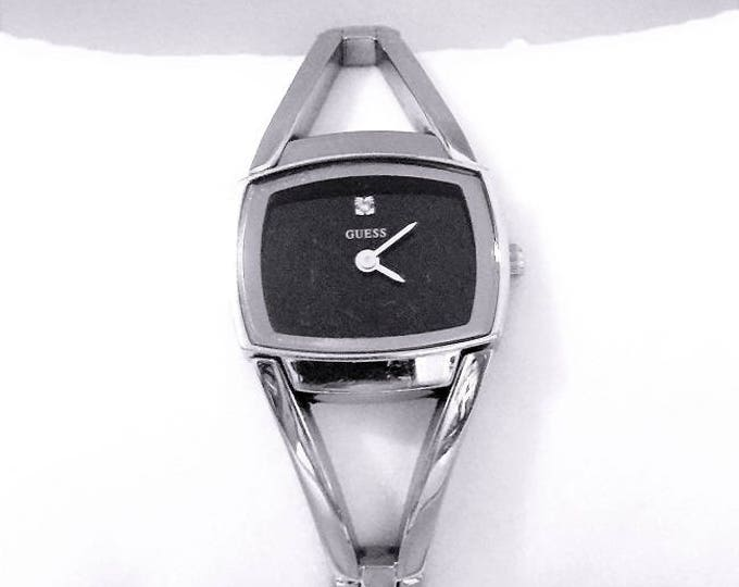 Vintage Guess Ladies Limited Edition Lady's Watch, Stainless Steel - Black Dial, Refurbished, Style G76023L Free US Shipping.