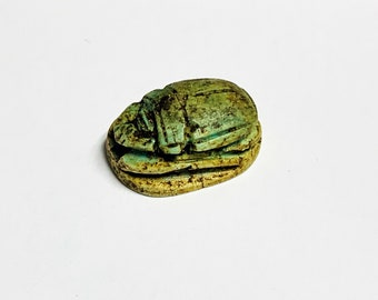 Vintage Ancient Egyptian Faience Ritual Scarab Amulet, Valley Of The Kings, West Thebes - Luxor, Upper Egypt, 18 mm.