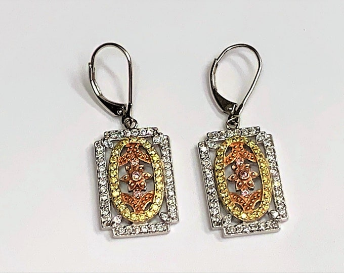 Sterling Silver with Yellow and Rose Gold Accents, Clear and Colored Full Facets CZ, Lever Backs Dangle Earrings, Rohdium, Hand Crafted.