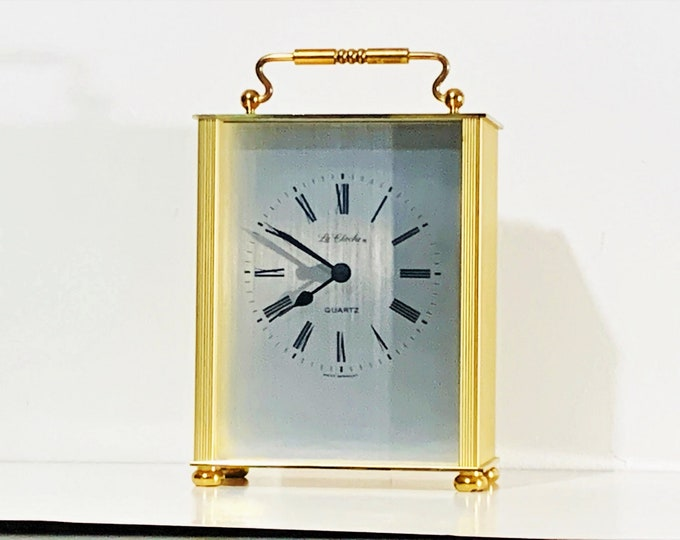 """Vintage La Cloche™ West Germany Solid Brass Carriage Clock, 1970's, Precision Quartz, 6.25"""" H. 4"""" W. Serviced & Works Perfectly."""