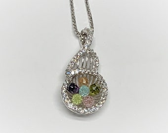 """Sterling Silver Multi Color Crystal Cut Gemstones and Brilliant CZ necklace, Pink-Blue-Green-Peach and Purple, 20"""" Box Chain, Rhodium."""