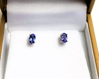 14K White Gold Natural Tanzanite Studs, Natural Bright Violet color, Blue Hue, Oval Cut 5 X 3 mm, .56 carat Total Weight. Free US Shipping