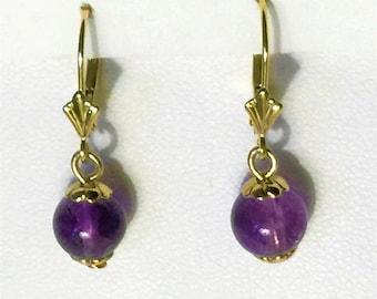 "14K Yellow Gold Amethyst Drop Earrings, 8mm Purple Amethyst Beads, Lever Backs, 1"" long (Solid Gold)"