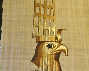 Vintage Hand Painted Egyptian Papyrus, God Horus The Falcon, Gold Leaf, 17 X 13 inch, 42 x 33 cm