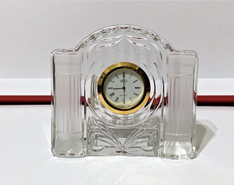 """Mikasa 'Cotillion Frost' Fine Crystal Clock, 4"""" wide, 3 3/4"""" High, Mint Condition - Works Perfectly, Old Stock"""