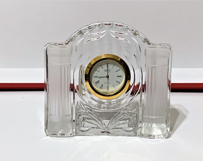 "Mikasa 'Cotillion Frost' Fine Crystal Clock, 4"" wide, 3 3/4"" High, Mint Condition - Works Perfectly, Old Stock"