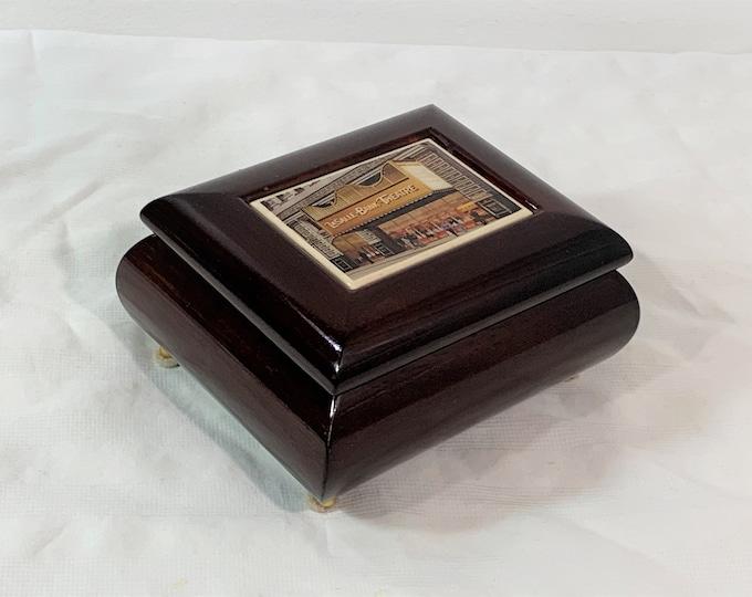 "Sankyo Music Jewelry Box, Tune: Music Of The Night. Historic Chicago Theater Plaque, Mahogany Piano Finish, Red Velvet Lining, 5"" W. 4"" L."
