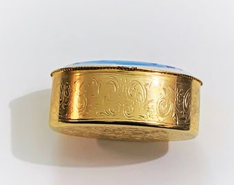 """Vintage  Florence Ponte Vecchio Theme Trinket or Pill Box, Hinged Lid Ceramic W/Top Insert, Gold Tone, Scroll Patterns All Around. 2.5"""" X 2"""""""