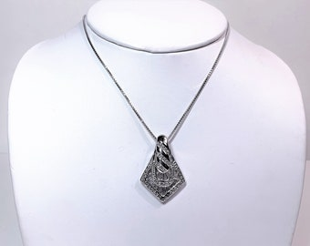 """Sterling Silver Glamorous Slide 1 1/4"""" Long, 20"""" Box Chain, Studded with Round Brilliant Cubic Zirconia, Fine Details, Rhodium"""