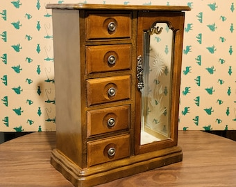 """Vintage MELE™ Wood Jewelry Armoire, Etched Glass Windows, Hangers, Mirror, 5 Padded Drawers, 12"""" Tall, 9"""" W. Restored, Free US Shipping."""
