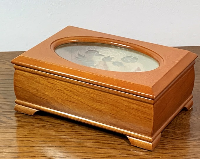 """Golden Oak Small Jewelry Box, Hinged Lid with Etched Plexiglass Window, Padded Sections, 7"""" W. 4.75"""" L. Refinished, Free US Shipping"""