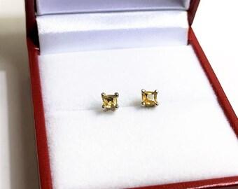 14k White Gold Yellow Sapphire Studs, Princess Cut Natural Fancy Yellow Sapphires, 3 mm, .32 carat.