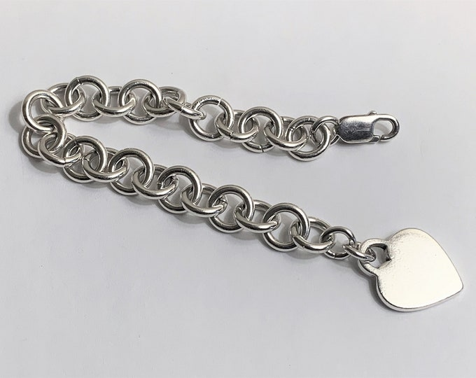 Sterling Silver Heart Tag Bracelet, 34.00 Grams, Blank Heart, Large Lobster Claw Clasp, Italy