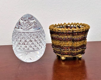 """Large Fine Lead Crystal Egg, France Hand Cut 24% Lead Crystal, 3.5"""" Tall - 2.5"""" Diameter, Added Beaded Colorful Basket, Free US Shipping."""