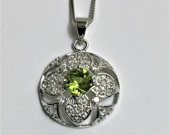 "Sterling Silver Genuine Green Peridot and Brilliant White CZ Necklace, Original Piece, 20mm Domed Slide, 20"" Box Chain"