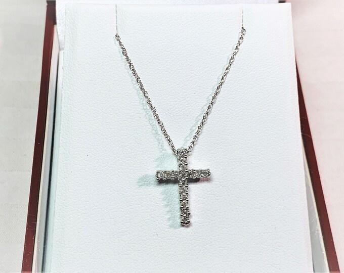 "14K White Gold Diamond Cross Necklace, 17 Diamonds .35 Carat. 3/4"" X 1/2"", 18"" Long Chain. Free US Shipping."